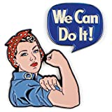Unemployed Philosophers Guild Rosie the Riveter and We Can Do It Enamel Pin Set - 2 Unique Colored Metal Lapel Pins
