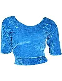 Hellblau Choli (Sari Oberteil) Samt Gr. 42 Gr. L ideal für Bauchtanz