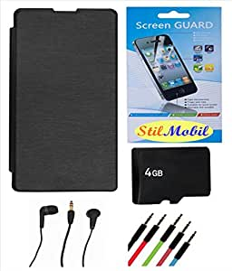 StilMobil Micromax Superfone A85 Flip Cover - Black + 4gb MicroSd Memory Card + Screen Cover + Ear Phone + Aux Cable
