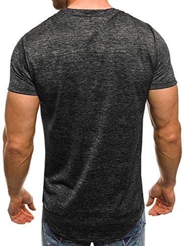 OZONEE Herren T-Shirt mit Motiv Kurzarm Rundhals Figurbetont J.STYLE SS077 Schwarz_J.STYLE-SS077