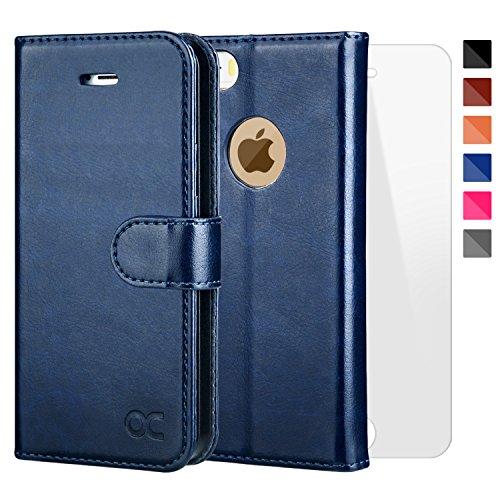 OCASE Coque iPhone 5S Porte-cartes [Film De Protection Offert ] Étui à Rabat Housse en Cuir pour iPhone 5 / 5S / SE - Bleu