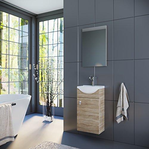 Waschtisch + Spiegel Badmöbel Set für Gäste Bad WC 44cm (Sonoma Eiche) -