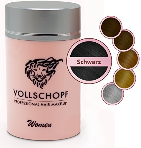 Vollschopf Hair Fibers speziell für Frauen - Schütthaar & Streuhaar bei weiblichem Haarausfall - Haar-Makeup für dünnes Frauen-Haar - Haar-Pulver Farbe Schwarz