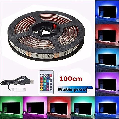 SOLMORE LED TV Hintergrundbeleuchtung Strip Streifen USB RGB 5050 SMD Licht Band Leiste Wasserdicht IP65 IR Controller Fernbedienung 100cm