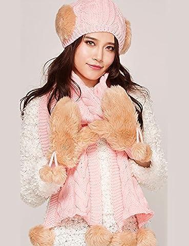 LHP Hat Scarf Gloves Three-piece Women Winter Korean Version Plus