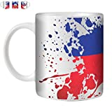 STUFF4 Tasse de Café/Thé 350ml/Haïti/Drapeaux du monde Splat/Céramique Blanche/ST10