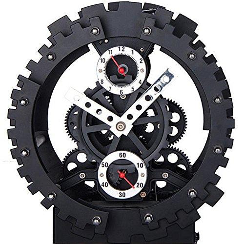 Tecnologia di sveglia meccanica muto doppio ingranaggio orologio scheletro in metallo , (Scheletro Orologio Da Tavolo)
