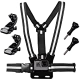 Haoyou Chest Mount Harness for GoPro Hero 6 Hero 5 Hero 4 Hero 3+ Hero 3 Hero Session Cameras Adjustable Chest Strap Includes J-Hook Thumbscrew Storage Bag