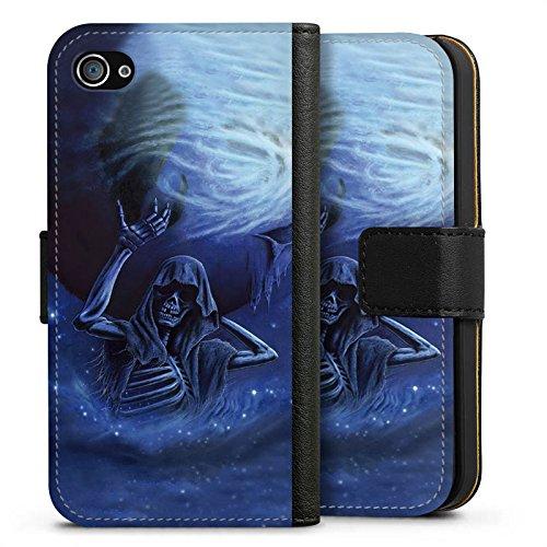 Apple iPhone X Silikon Hülle Case Schutzhülle Skull Bones Totenkopf Sideflip Tasche schwarz