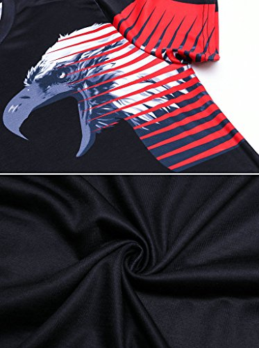 Pretty321 Men's Sign of Soul Spirit Digital Print Black Casual T-Shirt Collection Symmetry Eagles