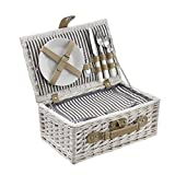 [casa.pro]® Picknickkorb für 2 Personen - Picknick-Set mit Kühltasche inkl. Geschirr, Besteck, Korkenzieher und Gläser (weiß)
