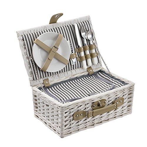 [casa.pro] Picknickkorb für 2 Personen - Picknick-Set mit Kühltasche inkl. Geschirr, Besteck, Korkenzieher und Gläser (weiß)