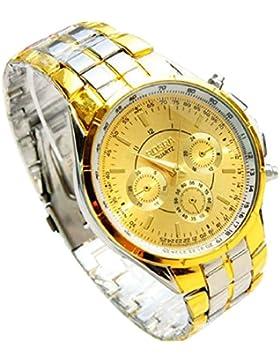 Culater® Männer Luxus Metall Römer Ziffern Gold Zifferblatt Armbanduhr Uhr