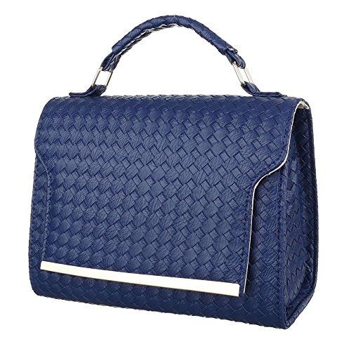 26e74b469f429 iTal-dEsiGn Damentasche Kleine Schultertasche Handtasche Tragetasche  Kunstleder TA-M922 Blau