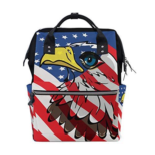 American Eagle Handtasche (Usa weißkopfseeadler amerikanische flagge große kapazität windel taschen mummy rucksack multi funktionen windel pflege tasche tote handtasche für kinder baby care reise täglich frauen)