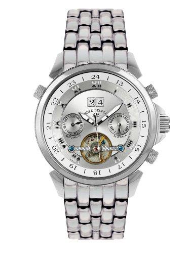 André Belfort 410015 - Reloj analógico de caballero automático con correa de acero inoxidable plateada - sumergible a 50 metros
