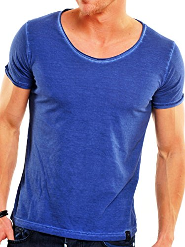 T-Shirt Herren kurzam Shirt V-Ausschnitt Tazzio Indigo