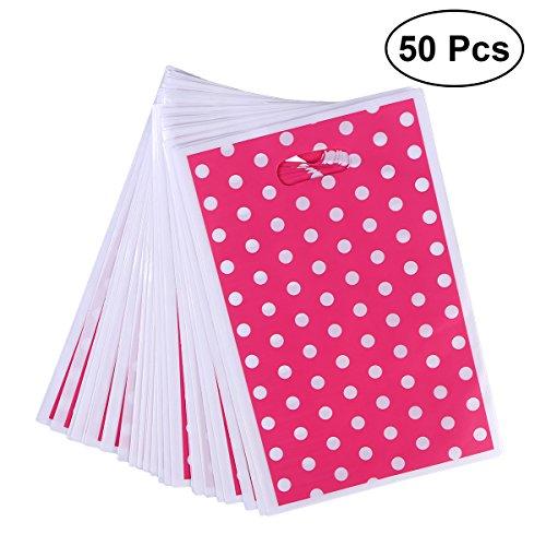 TOYMYTOY 50 Stücke Polka Dots Plastiktüten Partytüten Taschen Geschenk-Taschen mit Griff 17x25 cm