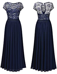 SSITG Damen Abendkleid Lang Chiffon Ballkleid Spitze Maxikleid Party kleid Gr.36-44