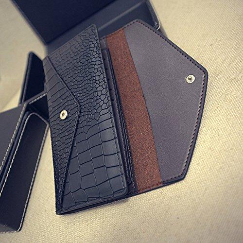 Portafoglio Elegante Di Woolala Croco Per Le Donne Borsa Lunga Dell'Organizzatore Sottile Della Borsa Del Cuoio Genuino (Raccoglitore Di Carta Rimovibile Come Regalo), Azzurro Black
