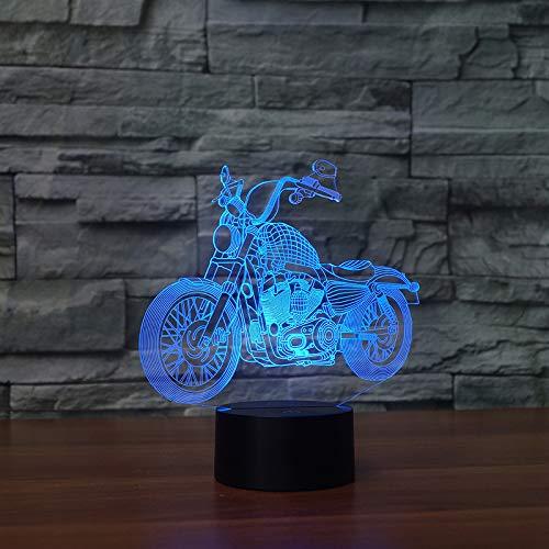 BFMBCHDJ Nueva motocicleta Touch Table Lamp 7 colores Cambio de lámpara de escritorio Lámpara 3D Novedad...