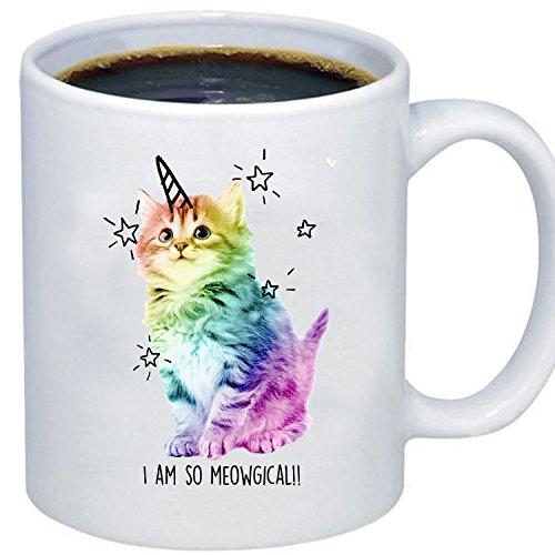 ZMvise Custom Art I Am So Meowgical Grumpy Rainbow Cat weiße keramik becher cup perfekt weihnachten thanksgiving gfit Plastic Liner Travel Mug