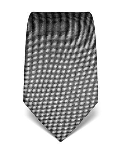 Vincenzo Boretti Herren Krawatte reine Seide strukturiert edel Männer-Design gebunden zum Hemd mit Anzug für Business Hochzeit 8 cm schmal / breit anthrazit (Seide Schwarz Reine Krawatte)