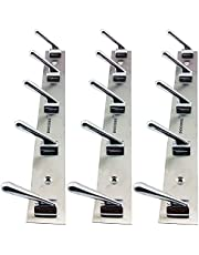 Docoss Pack Of 3-Deluxe 5 Pin Bathroom Cloth Door Hooks Hanger Wall Robe Hooks Rail