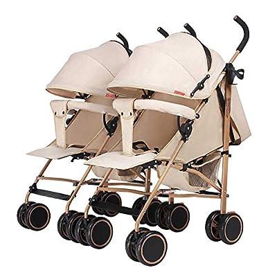 Strollers NAUY @ Cochecito de bebé, Carro Doble Desmontable, Plegable Ligero Puede Sentarse y acostarse Carrito de bebé Portátil Amortiguador Infantil Cochecito Infantil Sillas de Paseo