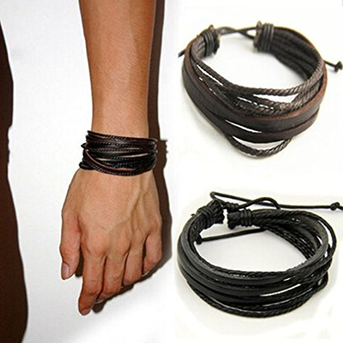 Honel Vintage Herren Armband Armreif Kunst Leder Arm Schmuck Geflochten Schmuck Geschenk Wristband ,Schwarz