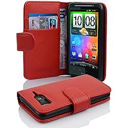 Cadorabo Coque pour HTC Desire HD, Rouge Cerise Fermoire Magnétique Housse de Protection Etui Portefeuille Case Cover pour HTC Desire HD - Stand Horizontal et Fente pour Carte Poche Folio
