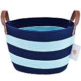 Großer Wäschekorb, LoongBaby waschender Korb Baumwollseil Speicherkarte für das Speichern von Kleidung, Kinderzimmer, scherzt Spielwaren (Blau)