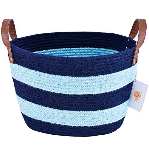 Großer Wäschekorb, LoongBaby waschender Korb Baumwollseil Speicherkarte für das Speichern von Kleidung, Kinderzimmer, scherzt Spielwaren (Blau) -