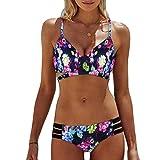 IMJONO.Frauen Böhmen Push-Up gepolsterte BH Beach Bikini Set Badeanzug Bademode(Mehrfarbig,Small)
