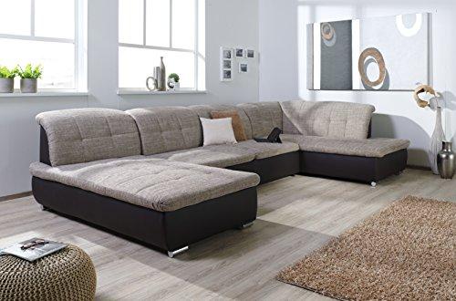 Wohnlandschaft Farus, Couchgarnitur XXL Sofa, U-Form, braun/cappuccino, Ottomane rechts