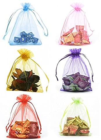 DIKETE® 120pcs Multi-Coloured Organza Gift Bags Wedding Party Favor Bags Jewelry Pouches Wrap Candy Bag 4.6 x 3.9 Inch