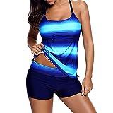 Damen Bikini Set High Waist Push up Plus Size Gradient Tankini Bademode Badeanzug Badeanzug (Dark Blue, L)