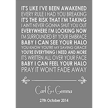 Latch sam smith wedding anniversary engagement song halo beyonce wedding anniversary engagement song personalised first dance lyric lyrics a4 21cm x 297cm unframed print stopboris Images