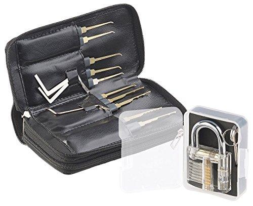 AGT Lockpick: Profi-Lockpicking-Set mit 30-teiliger Dietrich-Tasche & Übungs-Schloss (schlossknacker Set) (Professionelle Zeichnung Buch)