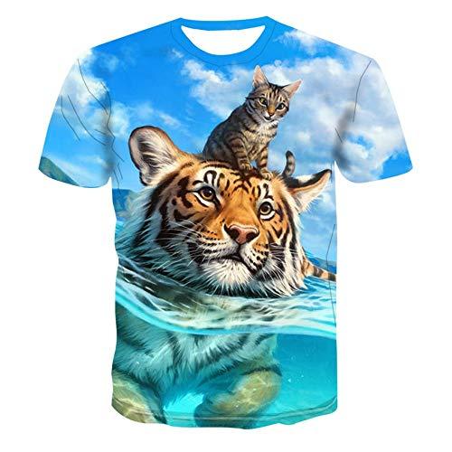 Mode Kostüm Modell - XIAOBAOZITXU T-Shirts Herren Und Damen Große Sweatshirts Für Die Mode Unisex-Kostüme Für Damen Tiger Und Tiger Slim Fit Coole Lustige Sommer-T-Shirts L