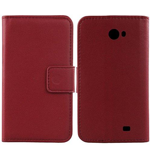 Gukas Design Echt Leder Tasche Für Kazam Trooper 2 5.0 Hülle Handy Flip Brieftasche mit Kartenfächer Schutz Protektiv Genuine Premium Case Cover Etui Skin Shell (Dark Rot)