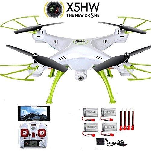 Creation® Syma X5HW-Con 2.4G Wifi trasmissione in tempo reale aerea telecomando Quadcopter Drone (extra 4 pezzi batterie $ 4 in 1 caricatore & 5pcs adattatore cavo )