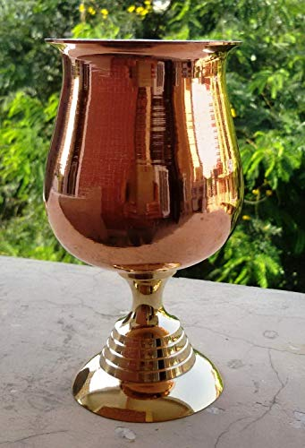 maithil Art Handarbeit reines Kupfer Weinkelch, Weinglas Wasser Kelch/versilbert Messing Wein...