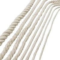 Cuerda hecha a mano de algodón bricolaje cuerda de enlace de hilo de algodón natural beige para tejer bolsa de dulces decorativos cuerda retráctil bolsa de asas de la boda decoración del arco de la