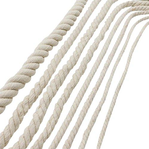 SH-Flying Baumwolle Geflochtenes Seil Handgemachte DIY Makramee Knoten Handwerk Machen Weiße Baumwolle Seil Stricken Geflochtene Dekorative Garn Für Gepäck Kordelzug Vorhang Gebunden Seil (420 Mm).