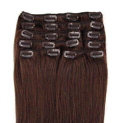 Clip dans Remy extensions de cheveux humains # 2 Marron Foncé 8 120 g (71,1 cm)