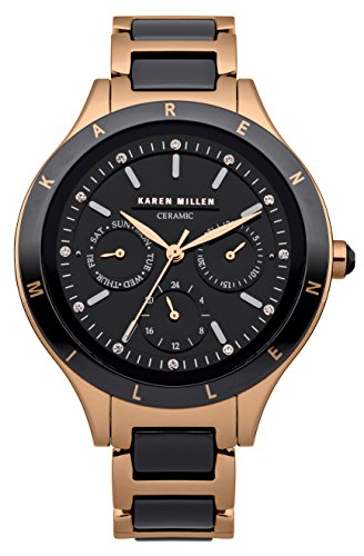 Karen Millen Women's Quartz Watch with Black Dial Analogue Display and Rose Gold Plated Stainless Steel Bracelet KM101RGMX