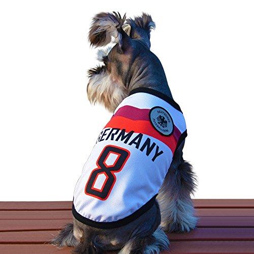 Besmall Hunde Trikot Fußball Jersey T-Shirt für Hunde Katzen Kostüme Haustier Weltmeisterschaft Weihnachtsmannkostüm Kleidung Haustierhundekleidung (XS/S/M/L/XL/XXL,Deutschland)