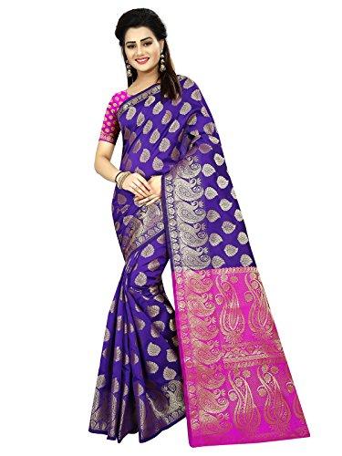 Varayu Women's Poly Silk Jacquard Color Blocked Wedding Wear Kajnivaram Saree With...