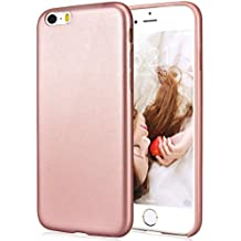Pelle Morbido Custodia per iPhone 5/5S/SE, SMARTLEGEND UltraSlim TPU Silicone Gel PU Cover Bumper Tinta Unita Flessibile Soft Back Case Ultra Protettiva Antiurto Anti-graffio Caso Copertura - Rose Gold
